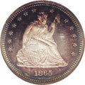 Proof Seated Quarters: , 1865 25C PR64 Cameo NGC. The bright, purple tinged centers areframed in electric-blue and crimson peripheral toning. Well ...