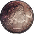 Barber Quarters: , 1901 25C MS66 PCGS. The 1901 quarter comes with a substantialmintage of nearly 9 million pieces, but Mint State examples a...