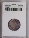 Proof Barber Quarters: , 1894 25C PR64 ANACS. The mirrored fields flash through the splendid lilac patina over the obverse, the reverse is fully bri...