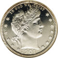 Proof Barber Quarters: , 1901 25C PR68 Cameo NGC. This crisply struck Superb Gem has both a brilliant obverse and reverse, with only the faintest ti...