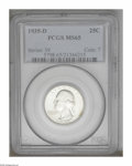 Washington Quarters: , 1935-D 25C MS65 PCGS. Untoned or nearly so and displaying a bright,frosty sheen. A scarcer early D-mint as a Gem....