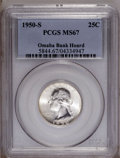 Washington Quarters: , 1950-S 25C MS67 PCGS. Ex: Omaha Bank Hoard. Although the 1950-S isnot regarded as a key to the series, it would prove no s...