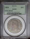 Bust Half Dollars: , 1809 50C XXX Edge AU55 PCGS. O-102, R.1. A reeded clashmark isstruck below the scroll and a scalloped upper left point on ...