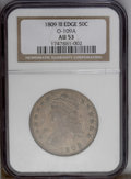 Bust Half Dollars: , 1809 50C III Edge AU53 NGC. O-109a, R.2. The die crack through thecenter of AMERICA is quite heavy, but not as advanced as...