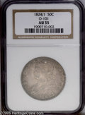 Bust Half Dollars: , 1824/1 50C AU55 NGC. O-101, R.2. A satiny and sharply struckdove-gray piece with unblemished fields and devices. The eye a...