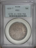 Bust Half Dollars: , 1829/7 50C MS61 PCGS. O-102, R.2. Dusky steel-gray toning cedes todeeper cobalt-blue and tan-brown colors on the reverse. ...
