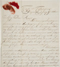 Miscellaneous, [Fort Sumter]. Union Soldier's Letter by Ira Gensel, 4th U.S. Infantry, Along with Pieces of the Union Flag from Fort Sumter ...
