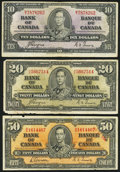 Canadian Currency: , $10, $20, and $50 1937 Canadian.. ... (Total: 3 notes)