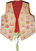 American Indian Art:Beadwork and Quillwork, Large Quilled Hide Men's Vest with American Flags....