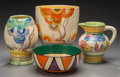 Ceramics & Porcelain, British:Modern  (1900 1949)  , Four Clarice Cliff Bizarre Ceramics: Bowl, Vases, Pitcher,circa 1927-1934. Marks: Bizarre by Clarice Cliff, H... (Total: 4Items)