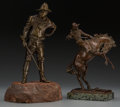 Fine Art - Sculpture, American:Modern (1900 - 1949), American School (20th Century). Soldier and Cowboy (twoworks). Bronze, each. 11-1/2 inches (29.2 cm) (tallest). ...(Total: 2 Items)