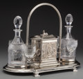 Silver Holloware, British:Holloware, A Silber & Fleming Victorian Silver-Plated Biscuit Box andCut-Glass Decanter Stand, London, England, circa 1854-1898.Marks... (Total: 6 Items)