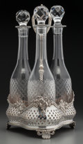 Silver Holloware, British:Holloware, An English Silver-Plated Stand with Three Cut-Glass Decanters,circa 1900. Marks: (English registry marks). 15-1/4 inches hi...(Total: 4 Items)