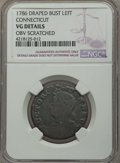 Colonials, 1787 Connecticut Copper, Draped Bust Left -- Obv Scratched -- NGC Details. VG. NGC Census: (48/510). PCGS Population (24/638...