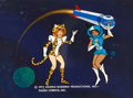 Animation Art:Painted cel background, Josie and the Pussycats in Outer Space Master End TitleBackground and Production Cel Setup (Hanna-Barbera, 1972)....(Total: 3 )