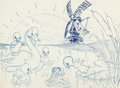 Animation Art:Production Drawing, The Old Mill Mother Duck, Duckling, and Frog Animation Drawing (Walt Disney, 1937)....