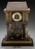 Clocks & Mechanical:Clocks, A French Bronze Fireplace-Form Mantle Clock, circa 1895. Marks: to clock mechanism: S. Marti et Cie/MEDAILLE DE BRONZE, GL...