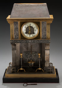 A French Bronze Fireplace-Form Mantle Clock, circa 1895 Marks: to clock mechanism: S. Marti et Cie/MEDAILLE DE