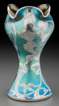 Art Glass:Other , A La Pierre Art Nouveau Iridescent Glass Vase with Silver Overlay,circa 1900. Marks: (LP) STERLING. 7-7/8 inches high. ...