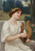 Ceramics & Porcelain, A German Painted Porcelain Plaque in Giltwood Frame, after Alfred Seifert: Maiden and Lyre, late 19th century. M...