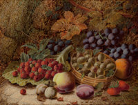 Oliver Clare (British, 1843-1927) Still life with gooseberries in a basket; Still life with fruit on mossy bank
