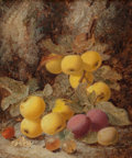 Fine Art - Painting, European:Modern  (1900 1949)  , Oliver Clare (British, 1843-1927). Still life with apples and plums; Still life with various fruits and a basket of gooseb... (Total: 2 Items)