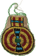 American Indian Art:Beadwork and Quillwork, Small Colorful Beaded Hide Pouch. ...