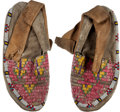 American Indian Art:Beadwork and Quillwork, Pair Quilled and Beaded Hide Moccasins. ... (Total: 2 Items)