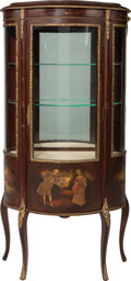 Furniture : French, A Louis XV-Style Mahogany, Gilt Bronze Mounted Vernis MartinVitrine, 20th century. 55-1/2 h x 26-1/4 w x 13 inches deep (14...