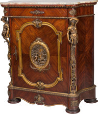 A Continental Gilt Bronze Mounted Mahogany Console Cabinet Gilt with Marble Top, late 19th century 45-1/4 h x 41-1