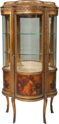 Furniture : French, A French Vernis Martin Giltwood Vitrine, 20th century. 56-3/4 h x27 w x 16-1/8 inches deep (144.1 x 68.6 x 41.0 cm). ... (Total: 2Items)