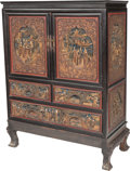 Asian:Chinese, A Chinese Carved and Painted Hardwood Cabinet on Stand, 20thcentury. 50 h x 36-1/2 w x 17 d inches (127 x 92.7 x 43.2 cm). ...(Total: 2 Items)