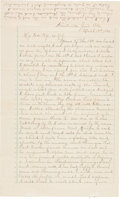 Autographs:Celebrities, Frank James: An Important 1884 Letter to His Wife and Son....