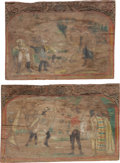 Antiques:Decorative Americana, Two Hand-painted Wooden Panels with Old West Subject Matter....(Total: 2 Items)