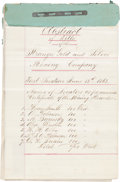 """Miscellaneous:Ephemera, Nevada Mining: An Early Document Dating from Before Nevada, the""""Silver State,"""" Entered the Union...."""