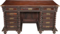 Furniture : Continental, A Portuguese Baroque-Style Carved Rosewood Writing Desk with Bronze Mounts, 19th century. 32-1/4 h x 59 w x 31-1/2 inches de...