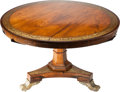 Furniture : English, An English Regency Mahogany, Rosewood and Brass Inlaid Tilt-Top Center Table, 19th century. 29-1/2 inches high x 47-3/8 inch...