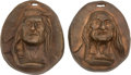 Art, Charles Marion Russell (American, 1864-1926): Two Bronze ReliefIndian Medallions, Old Man and Young Man.... (Total:2 )