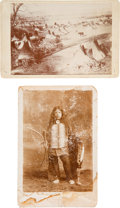 """Photography:Cabinet Photos, Identified on Verso as """"Early Sioux Incampment [sic] at Pine Ridge1885."""" ... (Total: 2 Items)"""