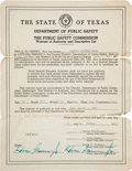 Miscellaneous, Captain Frank Hamer's Warrant of Authority. ...