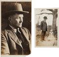 Photography, Texas Ranger James B. Gillett Photograph Taken at Sam Bass' Grave Marker in Round Rock.... (Total: 2 Items)