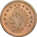 Civil War Merchants, 1863 Moritz, Bro. & Co., Indianapolis, IN, Fuld-460M-1a, R.7,MS66 Red and Brown NGC....