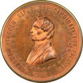 U.S. Presidents & Statesmen, 1860 Abraham Lincoln Rail Splitter Campaign Medalet, King-20,DeWitt-AL-1860-25, Cunningham-1-340C, MS64 Red and Brown NGC. ...