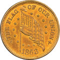 Civil War Patriotics, 1863 The Flag of Our Union, Fuld-210/408a, R.3, MS65 Red and BrownNGC....