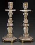 Decorative Arts, French:Other , A Pair of Rock Crystal Candlesticks with Gilt Metals Mounts, late20th century. 23 inches high (58.4 cm). ... (Total: 2 Items)
