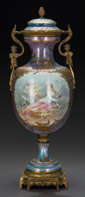 A Sèvres-Style Painted Lustre and Partial Gilt Porcelain Covered Urn, late 19th/early 20th century Marks: (pseudo...