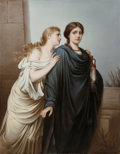 Ceramics & Porcelain, A Large KPM Painted Porcelain Plaque in Giltwood Frame: Ruth and Naomi, 19th century. Impressed marks: (scepter-...