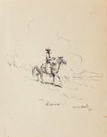 Fine Art - Work on Paper:Drawing, Edward Borein (American, 1873-1945). Cowboy in Clouds, 1928.Ink on paper. 10-7/8 x 7-3/4 inches (27.6 x 19.7 cm) (sheet...