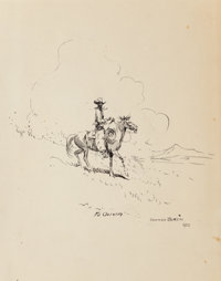 Edward Borein (American, 1873-1945) Cowboy in Clouds, 1928 Ink on paper 10-7/8 x 7-3/4 inches (27