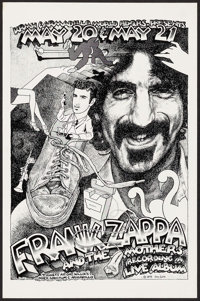 """Frank Zappa and The Mothers at the Armadillo World Headquarters (AWH, 1977). Concert Poster (11.5"""" X 17.5""""). R..."""